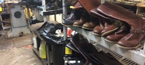 boots in a shoe repair shop